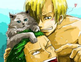 Sanji, Zoro and cat by Excel-K