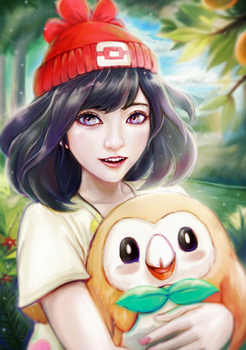 Pokemon Moon and Rowlet by WC-TahoGi