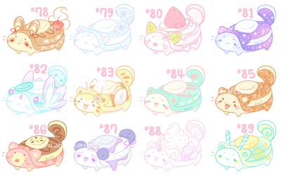 [CLOSED] *** Pancats *** Cakies #78 - 89 by Sarilain