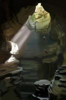 #8: 1 hour fast sketch painting. The cave by XGingerWR
