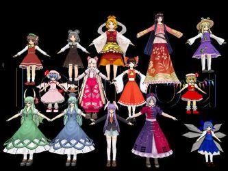 MMD All My Touhou Models by midnighthinata