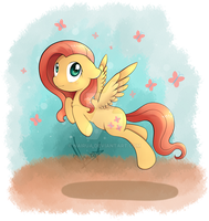 Fluttershy Flying by NairuA