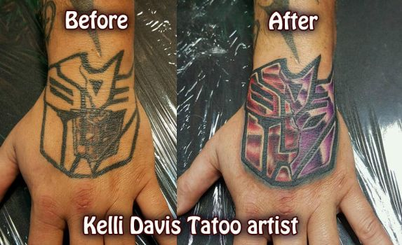 Transformers Hand tattoo fix by Pinkuh
