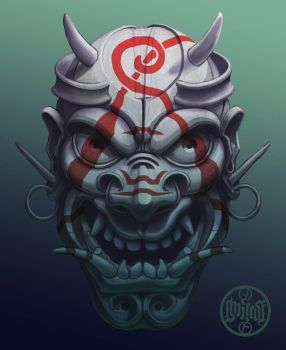 Evil painted samurai mask by foreest83