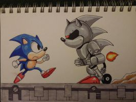 Sonic v. Silver Sonic by PhilL616