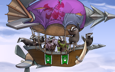 Badgers on a Zeppelin by weremagnus