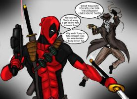 Rorschach Vs  Deadpool by TheFireAngel