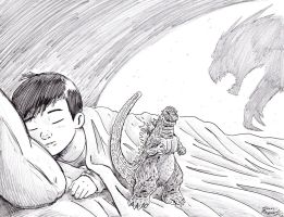 Godzilla Protects His Boy by KaijuKid
