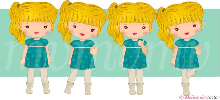 New chibi set Blonde version by Melisendevector