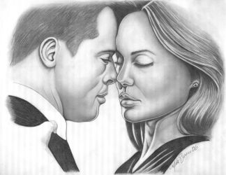 Angelina and Brad's kiss by Bannercourt