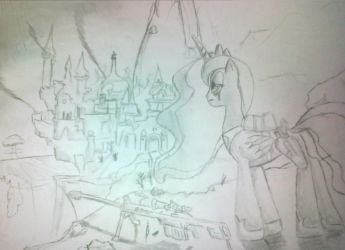 canterlot after the apocalips a few drawings by PrincessLluna