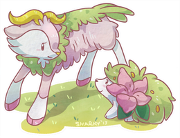 Shiny Skiddo and Shaymin