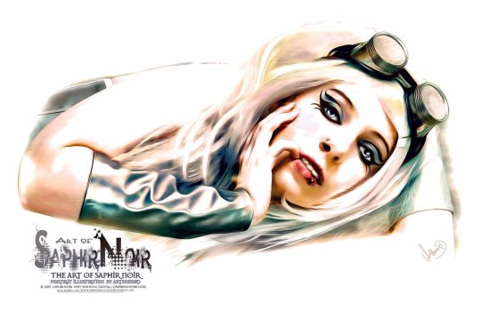 SaphirNoir Paint Steampunk PortraitArt Quer by ArthusokD