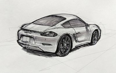 Porsche 718 Cayman (back view) by Hunternif