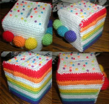 Rainbow Cake Tissue Cozy by SweetNerdyCakes