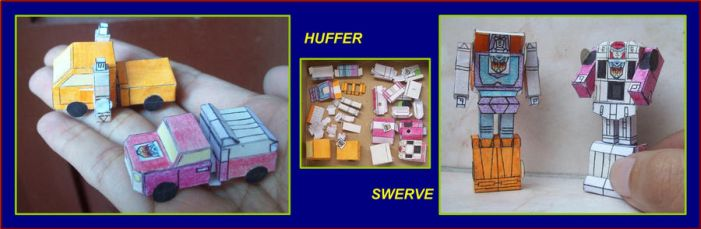 TINY-AUTOBOT-MINICARS-HUFFER-AND-SWERVE-IN-PAPER by Paperman2010