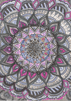 Blue, Pink, Gold Mandala by allysorge