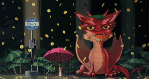 Smaug, at the bus stop by Cuine