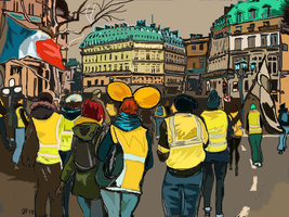 Paris streets with yellow vests by Fredkaluppke
