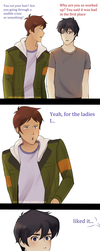 Vld comic: (Klance) short hair by atomicheartlight
