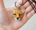 Cheetah head handmade of clay by koshka741