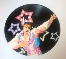 Yakuza 0 Majima Goro painted on vinyl record by vantidus