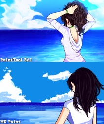 MS Paint VS PaintTool SAI by FlyingPings