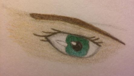 Green Eye (colored pencil) by FantasyFeathers
