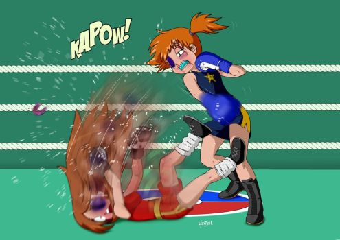 Pokebrawl Misty vs Leaf by Drawing-4ever by ironkobe