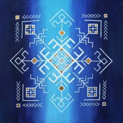 Traditional Baltic folk symbols on blue by BrigitaEktermane