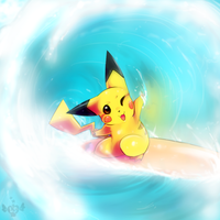 Surfing Pikachu by LoveSpellArt