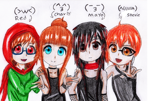 Red,Charly,Mayo, Stevie by mayonaka19