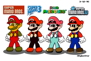 Four Mario Styles by 3DylanStar