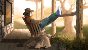 In a rocking chair (color)