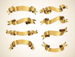 Free Golden Vector Ribbons Set by Pixeden