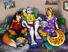 Girls Movie Night by Cybercat and Ralloonx by lady-cybercat