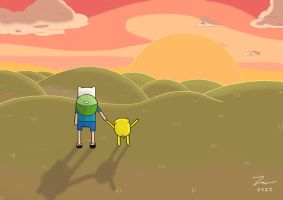 adventure time finn with jake by kazaret