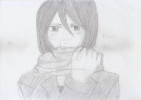 Sniffing the Scarf (Mikasa) by sarachan1818