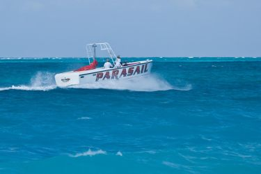 Para-sailing Boat In Turks 1 by AaronPlotkinPhoto