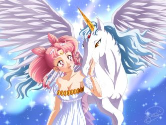 Chibiusa and Pegasus by foogie