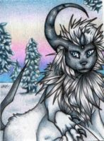 +ACEO:snowAbsol by LadyMignonette