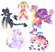 Messy sketch Poke'hybrid OC Commissions - batch 4