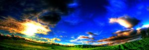 Field and Sky at Sunset Pano by IraMustyPhotography