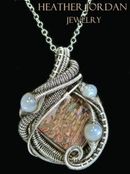 Pink Fossilized Dinosaur Bone Pendant in Antiqued by HeatherJordanJewelry