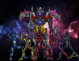 Power Rangers 2017 with MMPR poses by LavenderRanger