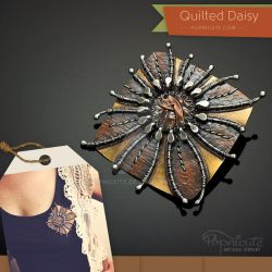 Quilted Daisy Art Brooch by popnicute