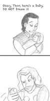 Thor and Loki with a Baby by wolf-pirate55