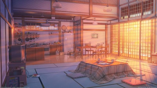 Living room and kitchen sunset by arsenixc