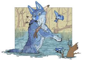 Coyote and Bluebird by Freha