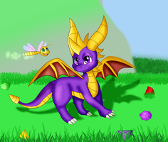 Spyro the Dragon With Sparx the Dragonfly 2018 by KendraTheShinyEevee